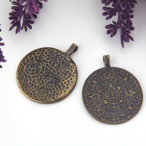Bronze Phaistos Disc Pendant, Ancient Replica Disc Pendant, Ancient Jewelry Supplies, Ancient Symbol Pendant,1 piece // ABP-157