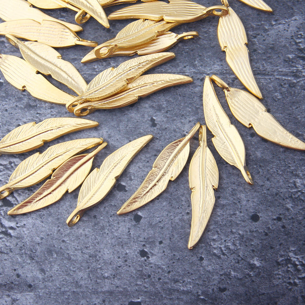 Gold Leaf Pendants, Large Leaf Charms, Leaf Drops, 3 pieces // GP-708