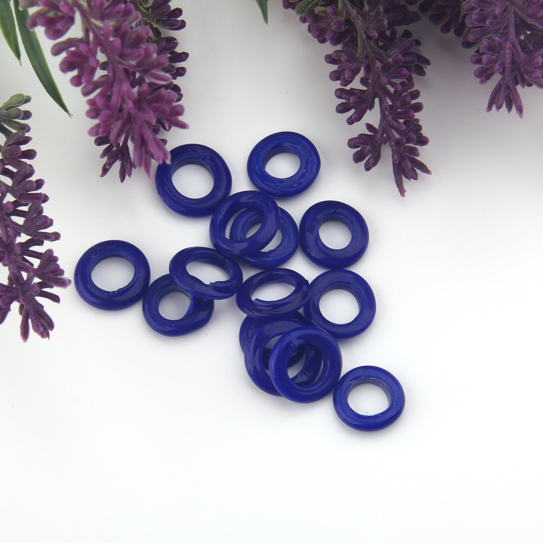Royal Blue, Lampwork Ring Beads, Handmade Glass Beads, Glass Donut Beads, Glass Circle Beads, 10 pieces // BD-125