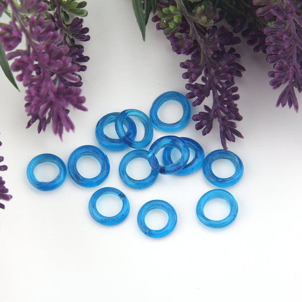 Clear Blue, Lampwork Ring Beads, Handmade Glass Beads, Glass Donut Beads, Glass Circle Beads, 10 pieces // BD-125
