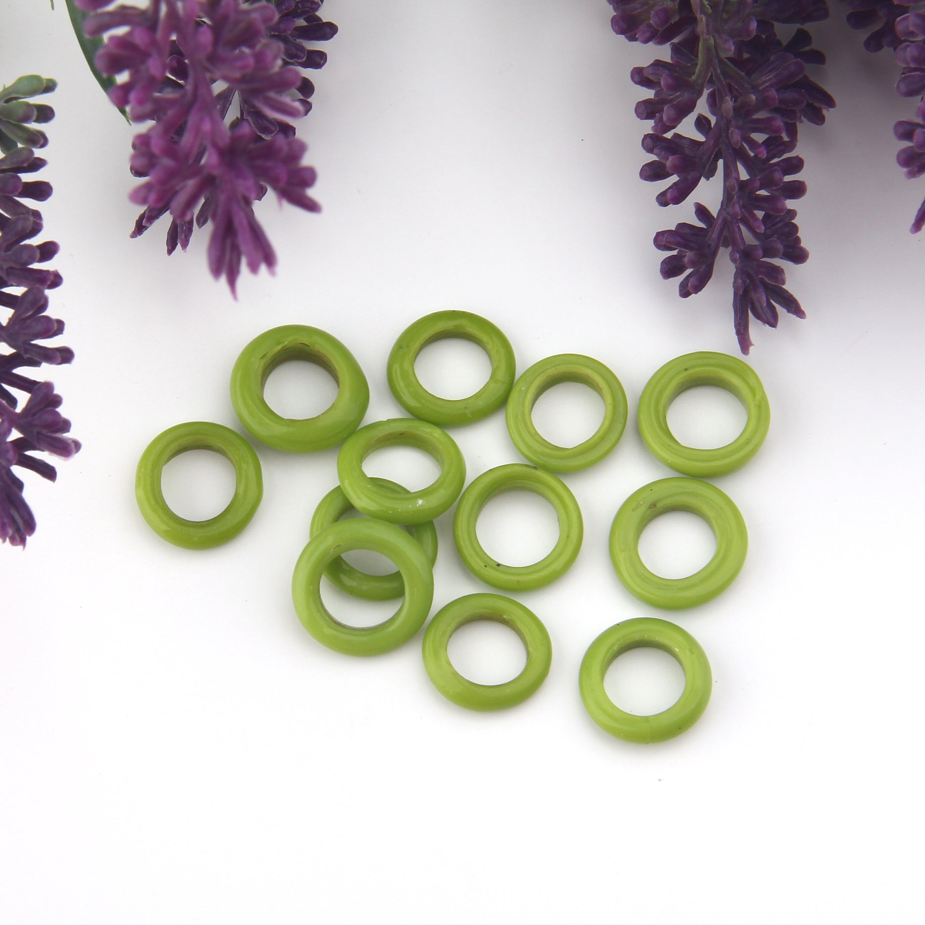 Olive Green, Lampwork Ring Beads, Handmade Glass Beads, Glass Donut Beads, Glass Circle Beads, 10 pieces // BD-125