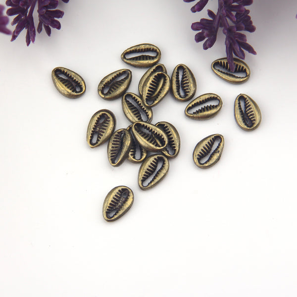 Bronze, Mini Seashell Beads, Mini Cowrie Shell Charms, Mini Bronze Shell Connectors, 10 pieces // ABB-046