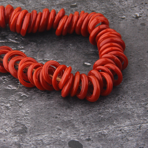 Coral Red Lampwork Ring Beads, Handmade Glass Beads, Glass Donut Beads, Glass Circle Beads, 10 pieces // BD-125