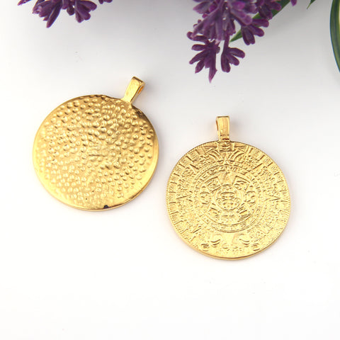 Gold Phastos Disc Pendant, Ancient Replica Disc Pendant, Ancient Jewelry Supplies, Ancient Symbol Pendant,1 piece // GP-709