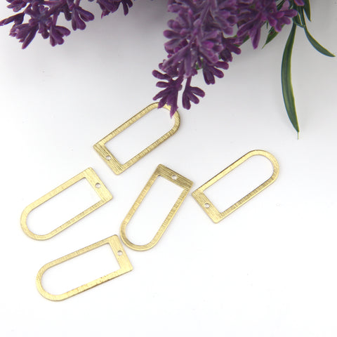 Raw Brass Arch Links, Polymer Clay Components, Textured Arch Link, D shaped Raw Brass, 10 pieces // RAW-163