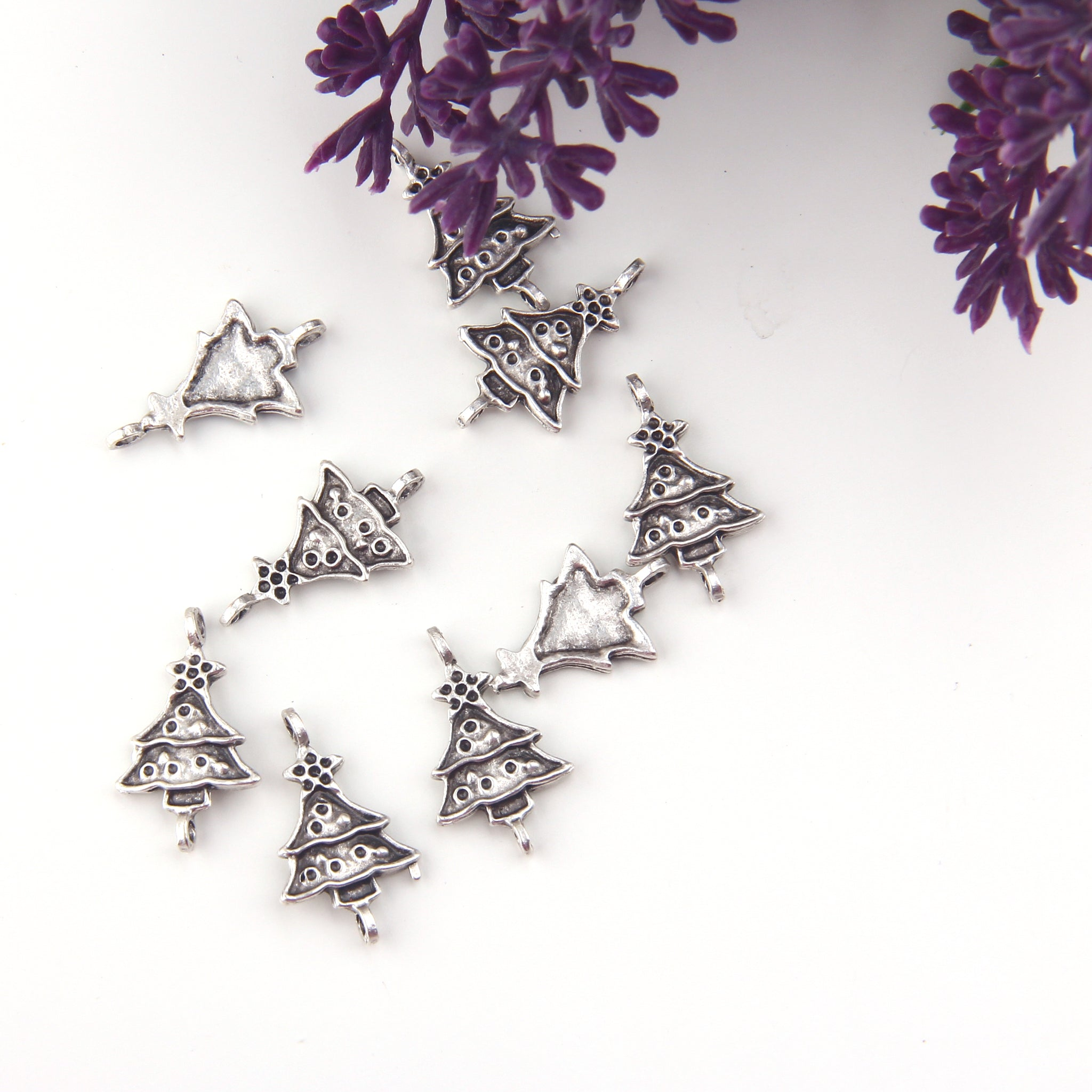 Christmas Tree Charms, Christmas Charms, Xmas Charms, Silver Tree Charms, 8 pieces // SCh-270