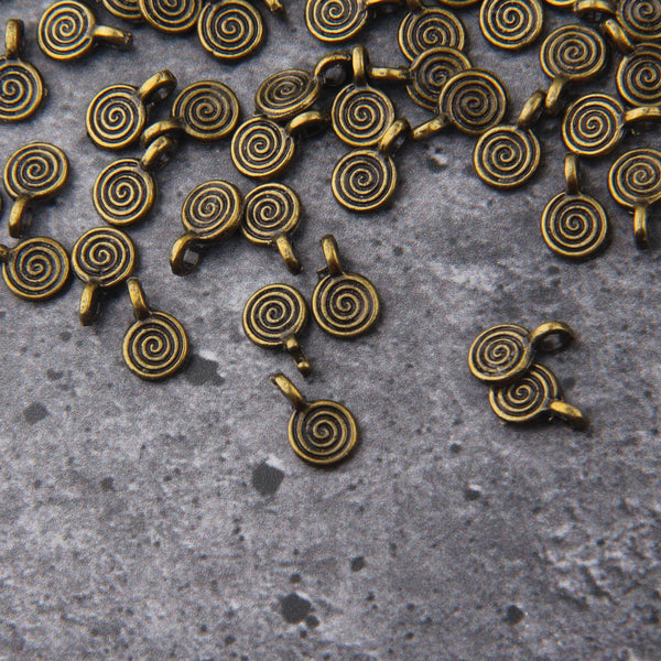 Bronze Mini Swirl Charms, Swirl Drop Charms, Bronze Spiral Charms, 20 pieces // ABCh-067