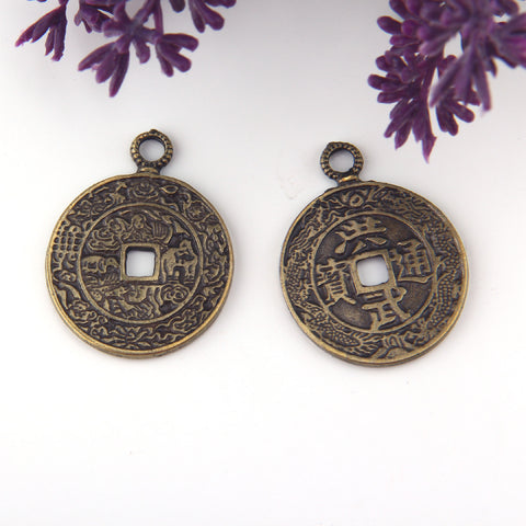 Chinese Lucky Pendants, Qing Dynasty Coin, Chinese Coin Pendant, Bronze Chinese Pendant, 1 piece // ABP-159