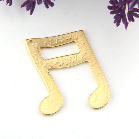 Music Note Pendant, Musical Pendant, Gold Musical Note, Quaver Pendant, 1 piece // GP-710