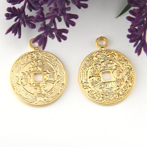 Chinese Lucky Pendants, Qing Dynasty Coin, Chinese Coin Pendant, Gold Chinese Pendant, 1 piece // GP-711