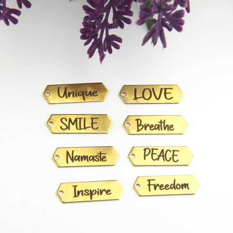 Raw Brass Word Tags, Laser Engraved Charms, Quote Charms, Inspiration Charms, 1 piece // RAW-165