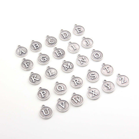 Letter Charms, Alphabet Charms, Silver Letter Charms, Initial Charms, Jewelry Making Supplies // SCh-271