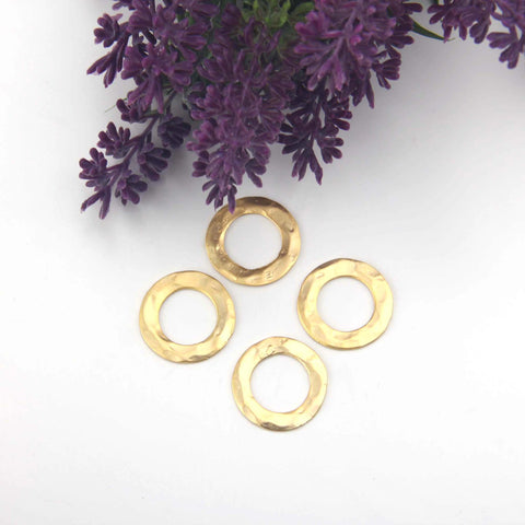 Hammered Ring Link, Gold Flat Ring Link, Flat Circle Connector, Gold Ring Connector, 4 pieces // GC-613