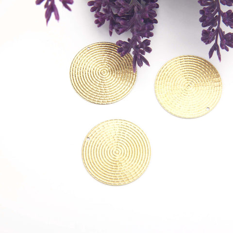 Textured Circle Pendant, Raw Brass Pendant, Raw Brass Circle, Polymer Clay Findings, Polymer Clay Components, 4 pieces // RAW-194