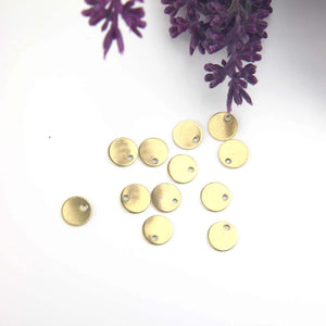 Raw Brass Disc Charms, Mini Tag Charms, Stamping Blank, Polymer Clay COmponents, Polymer Clay Findings, 15 pieces // RAW-197