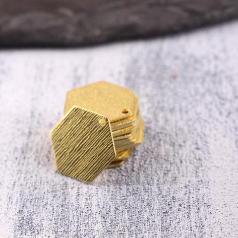 Hexagon Raw Brass Charms, Striped Bar Charms, Stamping Blank, Polymer Clay Charms, Polymer Clay Findings, 8 pcs // RAW-224