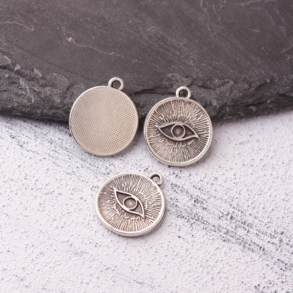 Silver Plated Eye Charms, Evil Eye Charms, All Seeing Eye, Eye Pendants, Protection Eye Charms, 5 pieces // SCh-277