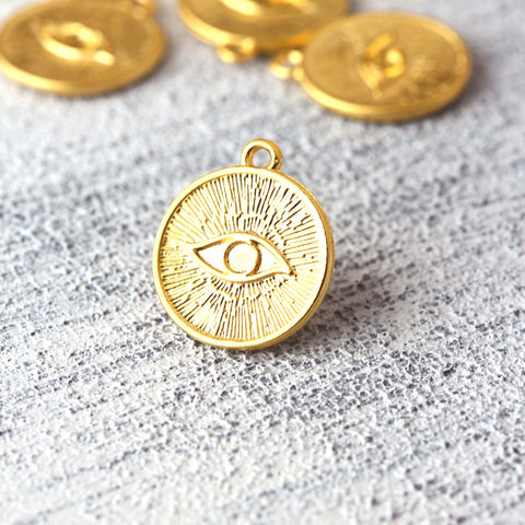 Gold Plated Eye Charms, Evil Eye Charms, All Seeing Eye, Eye Pendants, Protection Eye Charms, 5 pieces // GCh-380