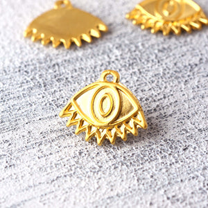 Gold Plated Eye Charms, Evil Eye Charms, All Seeing Eye, Eye Pendants, Protection Eye Charms, 5 pieces // GCh-381
