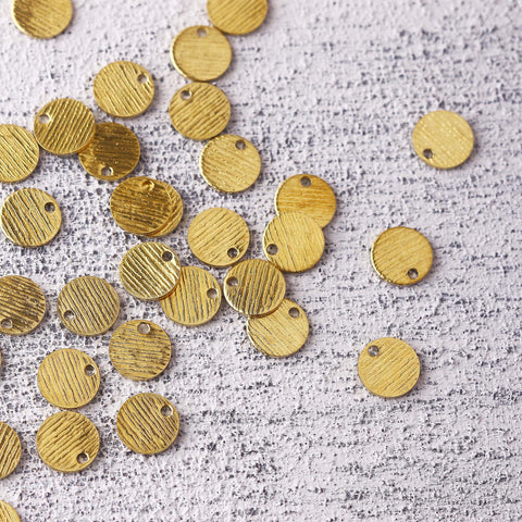 Mini Disc Raw Brass Charms, Striped Raw Brass, Mini Disc Earring Components, Polymer Clay Charms, Stamping Blank Charms, 25 pcs // RAW-229