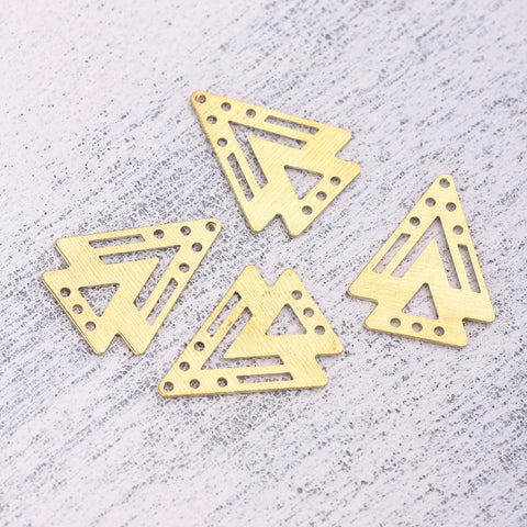 Raw Brass Triangle Connectors, Tribal Lİnks, Multihole Triangle Links, Polymer Clay Components, Polymer Clay Findings, 4 pieces // RAW-230