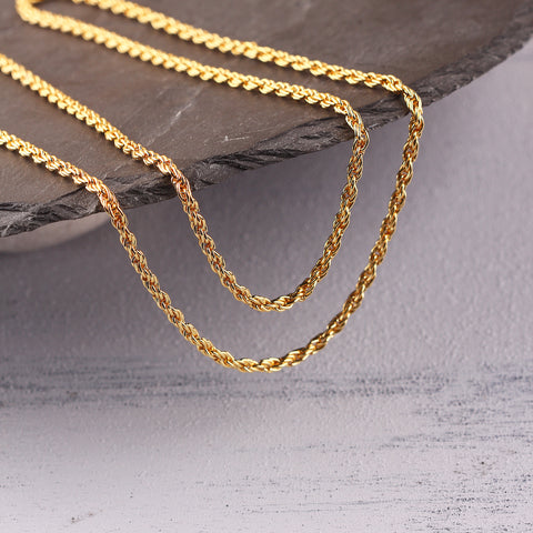 Shiny Gold Plated Rope Chain, Chain Supplies, Necklace Chain, Rope Chain, 1 meter / GChn-040