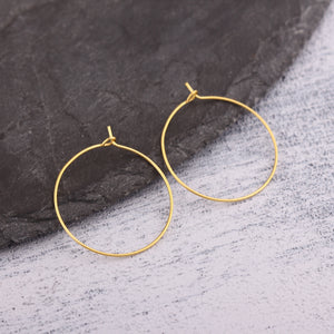 Gold Earring Hoops, Earring Hooks, Circle Earring Components, Gold Ear Hoops,30mm, 2 pieces // GF-207