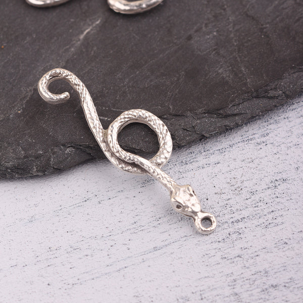 Silver Snake Pendant, Silver Serpent Pendant, Animal Pendant, Snake Jewelry, 1 piece //  SP-498