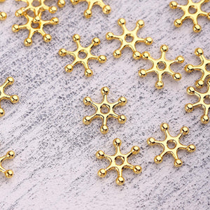 Floral Disc Spacer, Sun Disc Beads, Shiny Gold Slider Beads, Bead Spacers, 8 pieces // GB-315