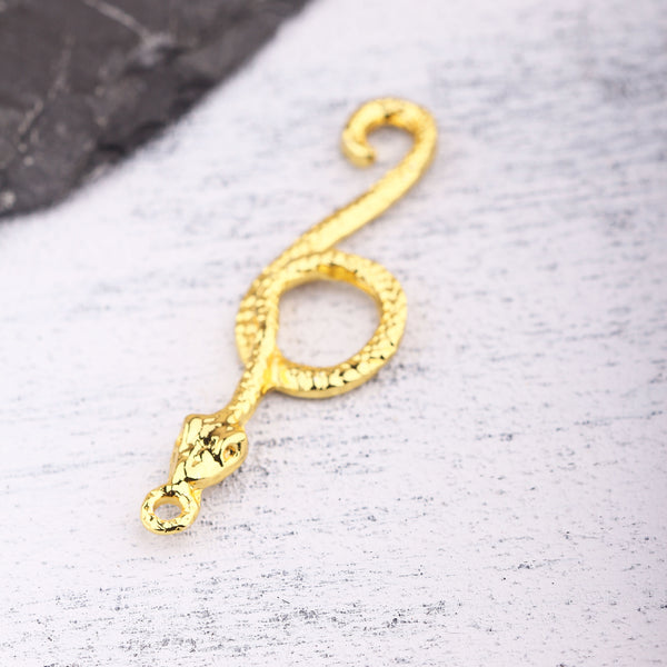 Gold Snake Pendant, Shiny Gold Serpent Pendant, Animal Pendant, Snake Jewelry, 1 piece //  GP-733