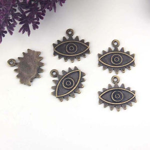 Bronze Eye Charms, Bronze Eye Pendants, Big Eye Charms, All Seeing Eye Charms, Evil Eye Charms, 2 pieces // ABCh-069
