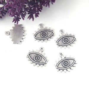 Silver Eye Charms, Silver Eye Pendants, Big Eye Charms, All Seeing Eye Charms, Evil Eye Charms, 2 pieces // SCh-273