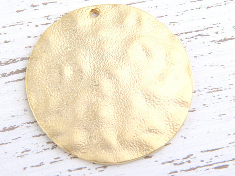Large Round Dome Shaped Hammered Gold Pendant, 45 mm, 1 piece // GP-444