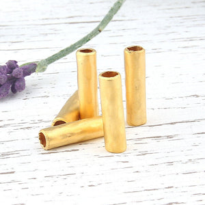 Circular Tube Bead Sliders, 22k Matte Gold Plated, 5 pieces // GB-161