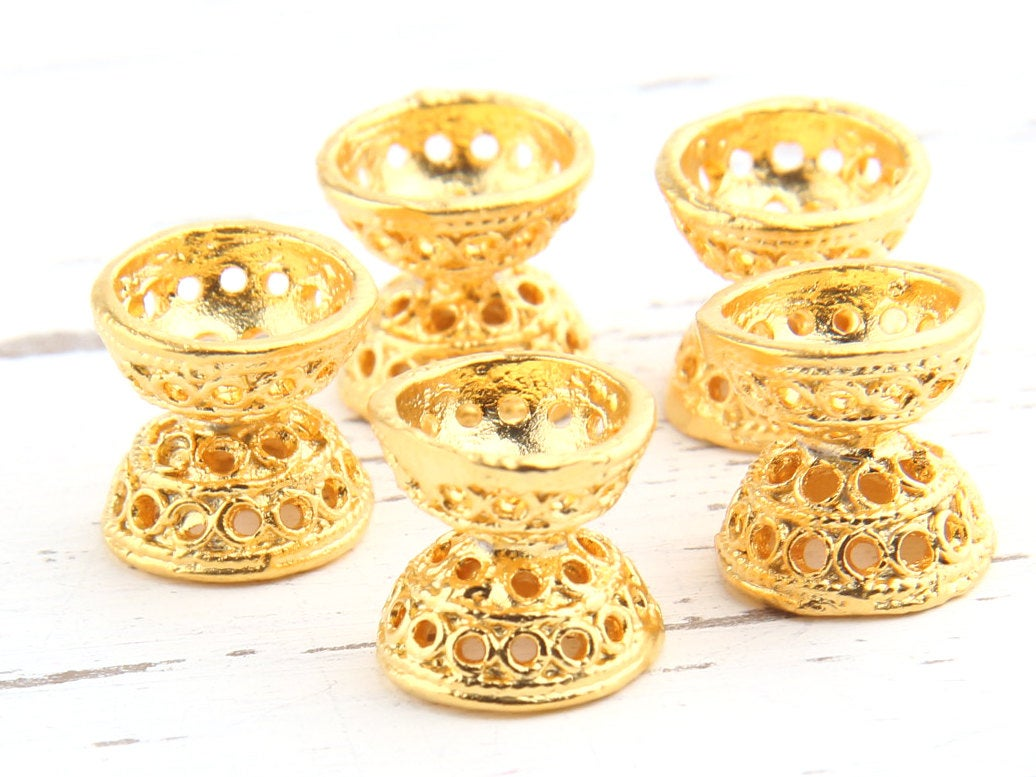 Bali Style Double Bead End Caps, 5 pieces //GF-120