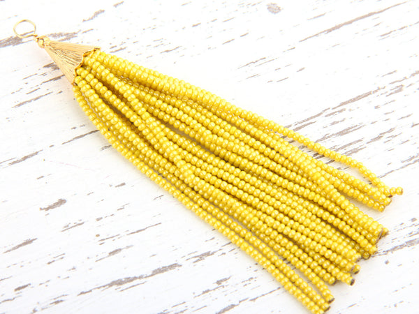 Soft Yellow, Seed Bead Tassel, Boho Tassel, Beaded Tassel, 1 pc, 90 mm / 3,5'' // TAS-080
