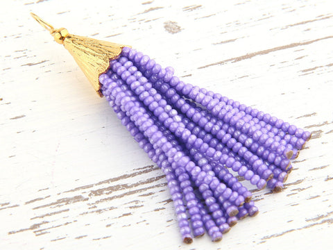 Lavender, Short Seed Bead Tassel, Boho Tassel, Beaded Tassel, 1 pc, 52-58 mm// TAS-081