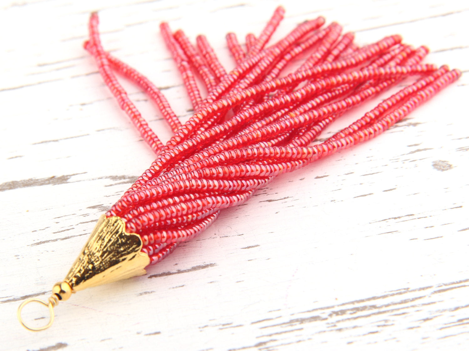 Bright Berry, Seed Bead Tassel, Boho Tassel, Beaded Tassel, 1 pc, 90 mm / 3,5'' // TAS-080