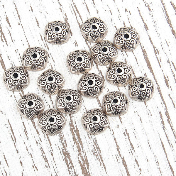 Bali Style Bead Caps, Silver Plated, 16 pieces // SF-080