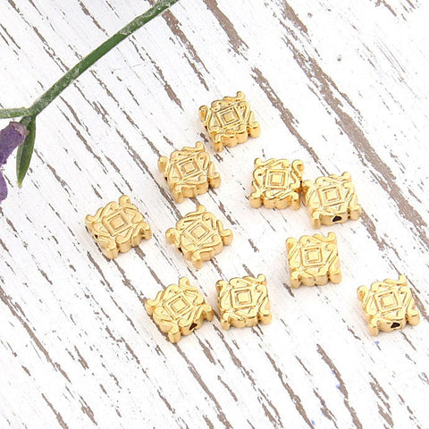 Textured Square Metal Beads, 22k  Matte Gold Plated, 10 pieces // GB-162