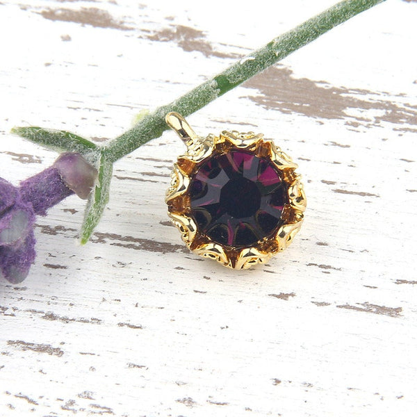 Purple, Crystal Charm Pendant with Floral Backed Bezel Setting, 22k Shiny Gold Plated,1 piece // GP-454
