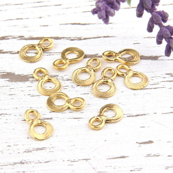 Gold Plated, Double Round, Number Eight Connector Charms, 10 pieces // GCh-208