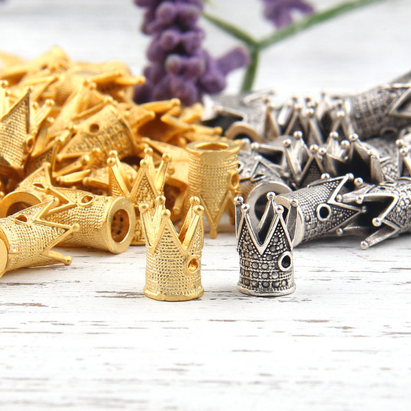 Textured King Crown Bead Caps, Crown Shaped Cones, Mini Tassel Caps, 8 pieces // GF-126