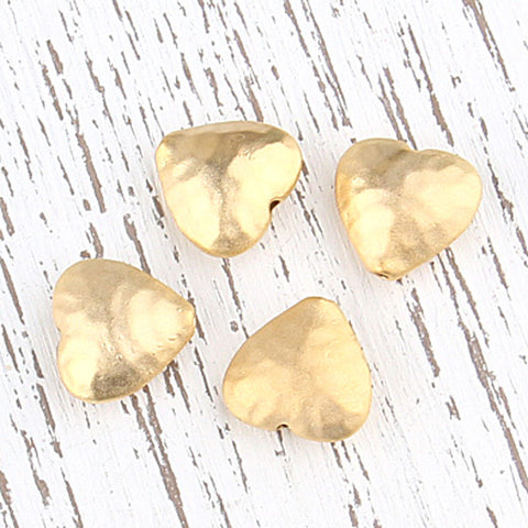Hammered Heart Beads, 22k Matte Gold Plated 4 pieces // GB-164