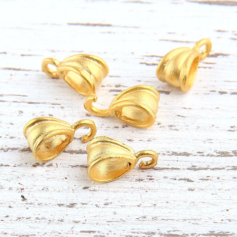 Pendant Bail Holder, Charm Holder, Scarf Bail, 22k Matte Gold Plated, 5 pieces //GF-128