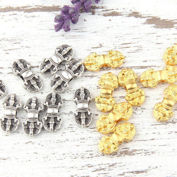 Victorian Style Antique Silver Bead Sliders, Bead Spacer, 8 pieces // SB-092
