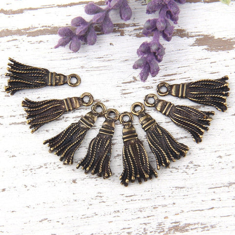 Mini Metal Tassel Charms, Antique Bronze Charms, 11 mm, 8 pcs //  ABCh-017