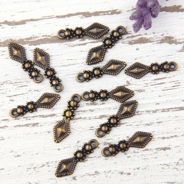 Mini Bronze Tribal Spike/Arrow Charms, Tribal Triangle Drop Charms, 12 pieces // ABCh-018