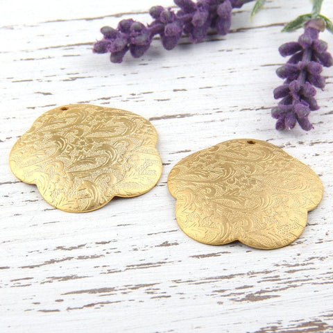 Metal Floral Embossed Flower Pendants, Gold Plated, 2 pieces // GP-472