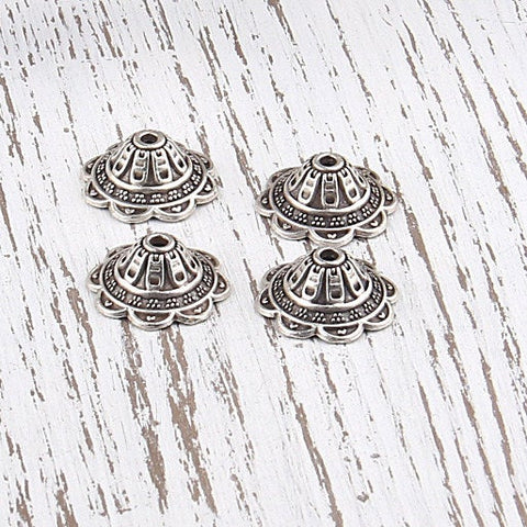Bali Style Silver Plated Bead Caps, 4 pieces // SF-081